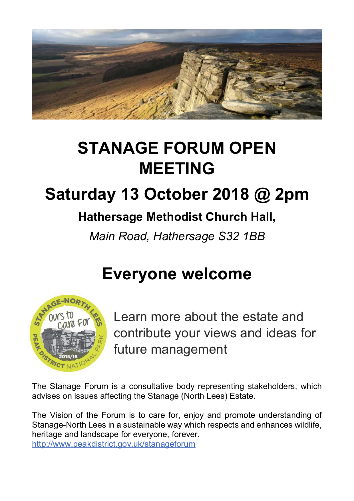 POSTER FOR STANAGE FORUM OPEN MEETING OCTOBER 2018